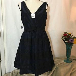 NWT J.Crew Dress Navy Blue Size 10 Tulle V-Neck